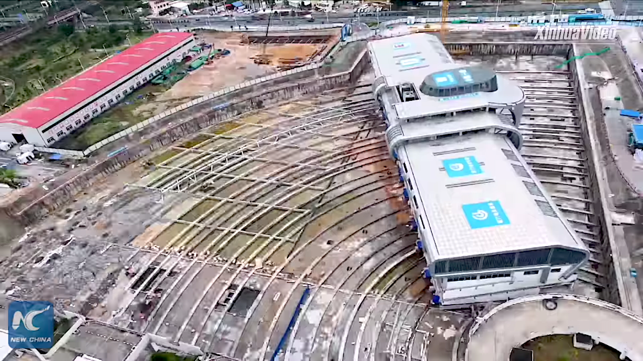 Amazing Timelapse Footage of a 30,000 Ton Bus Terminal Being Rotated 90 Degrees in Xiamen, China