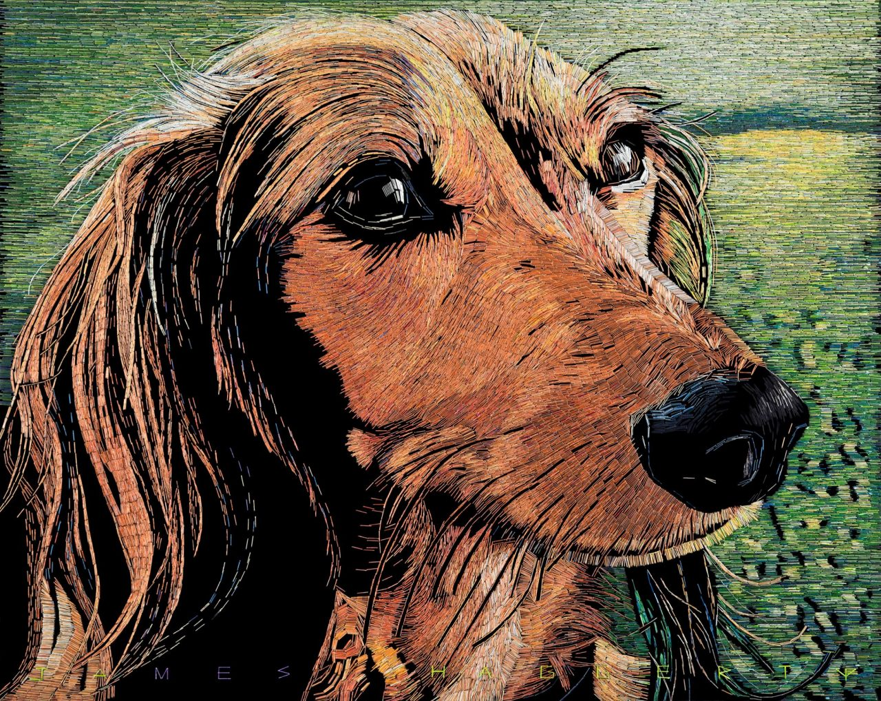 A Beautiful Large Scale Mosaic of an Adorable Dachshund Made Out of Over 75,000 Colored Staples