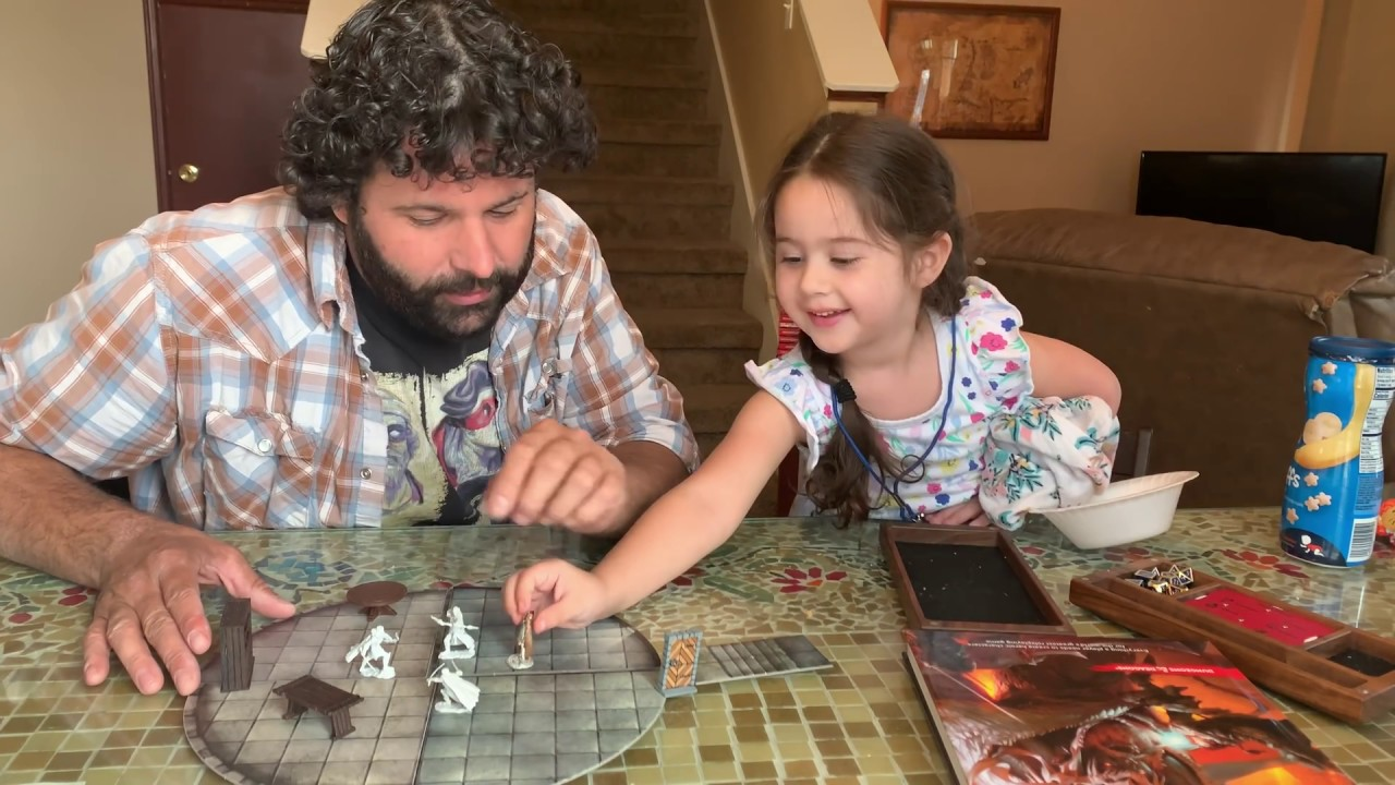 Enthusiastic Father Teaches His Three and a Half Year Old Daughter How to Play Dungeons and Dragons