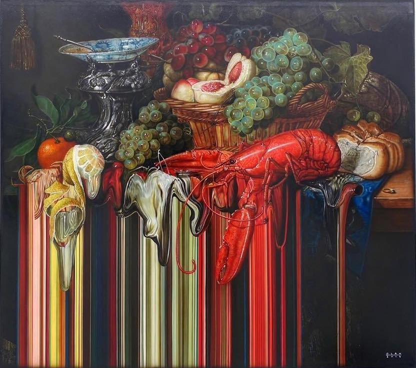 Surreal Dutch Masters Style Glitched Still Life Paintings
