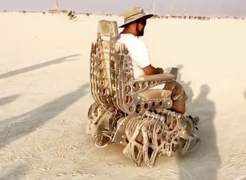 A Kinetic Walking Chair Crawls Around Burning Man