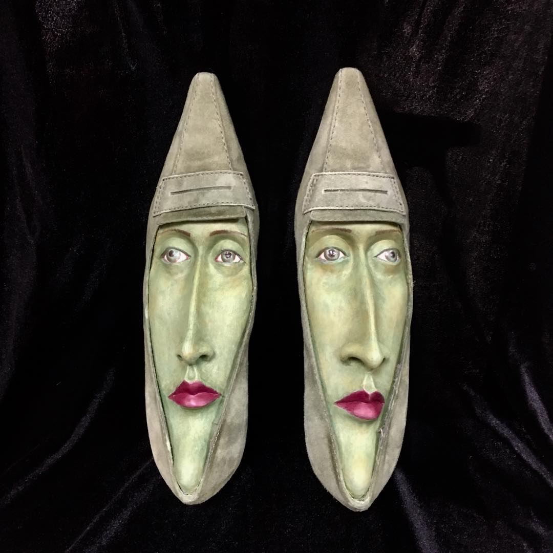 A Surreal Sculpture Series of Shoes With Faces