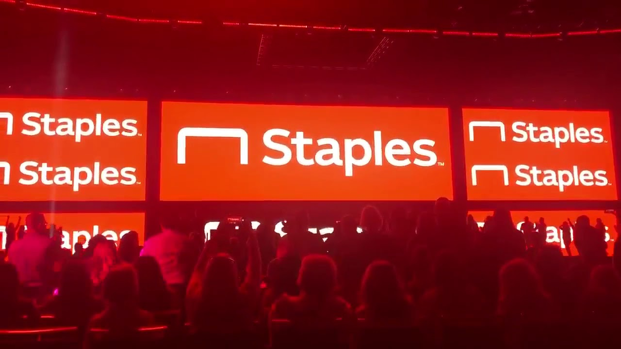 Staples Dramatically Unbends Their Namesake 'L' in a Highly Theatrical Reveal of Their New Company Logo