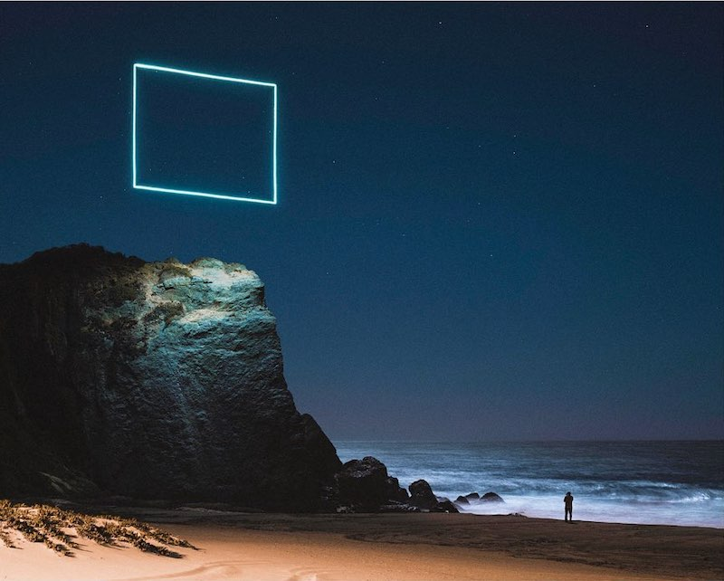 Geometric Shapes Created by LEDs on Drones Appear to Float Above Gorgeous Landscapes