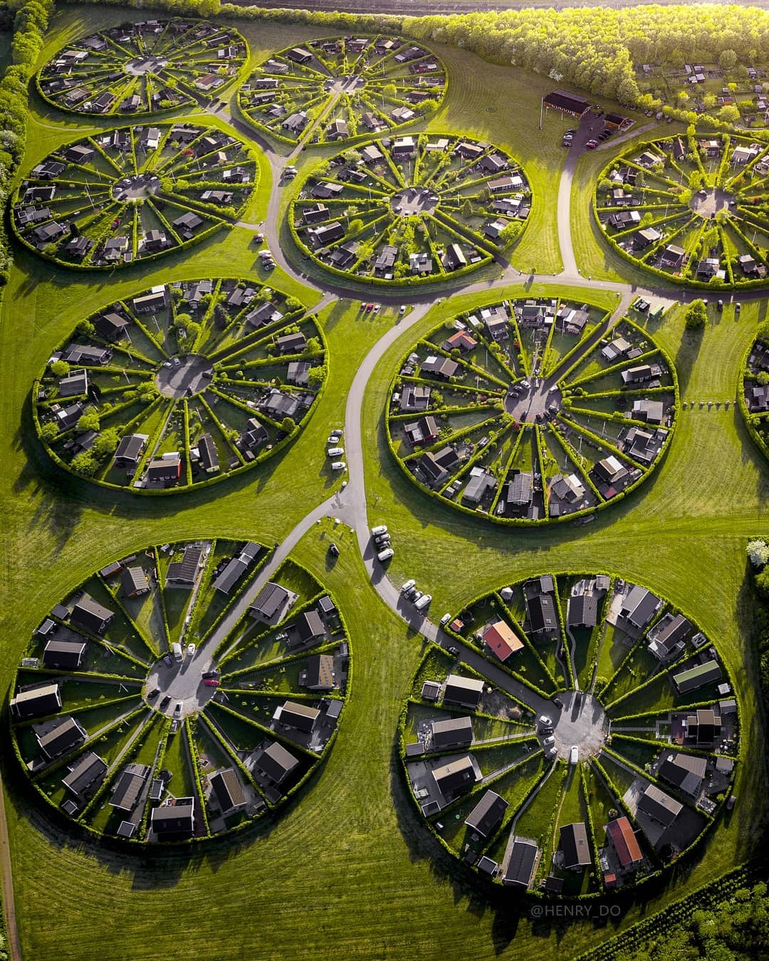 Gorgeous Aerial Photos and Footage of 12 Circular Community Gardens Near Copenhagen, Denmark