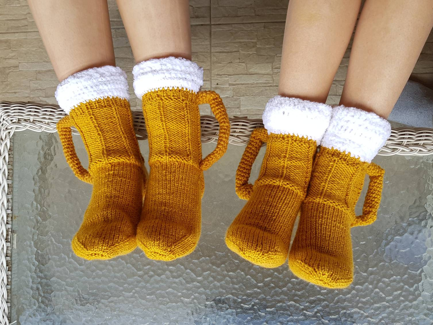 Cozy Hand Knitted Beer Mug Socks With Handles
