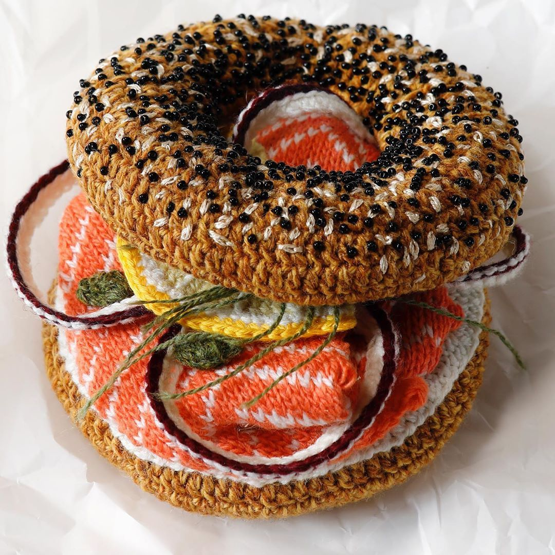 Crocheted Bagels and Lox Plus All the Fixings