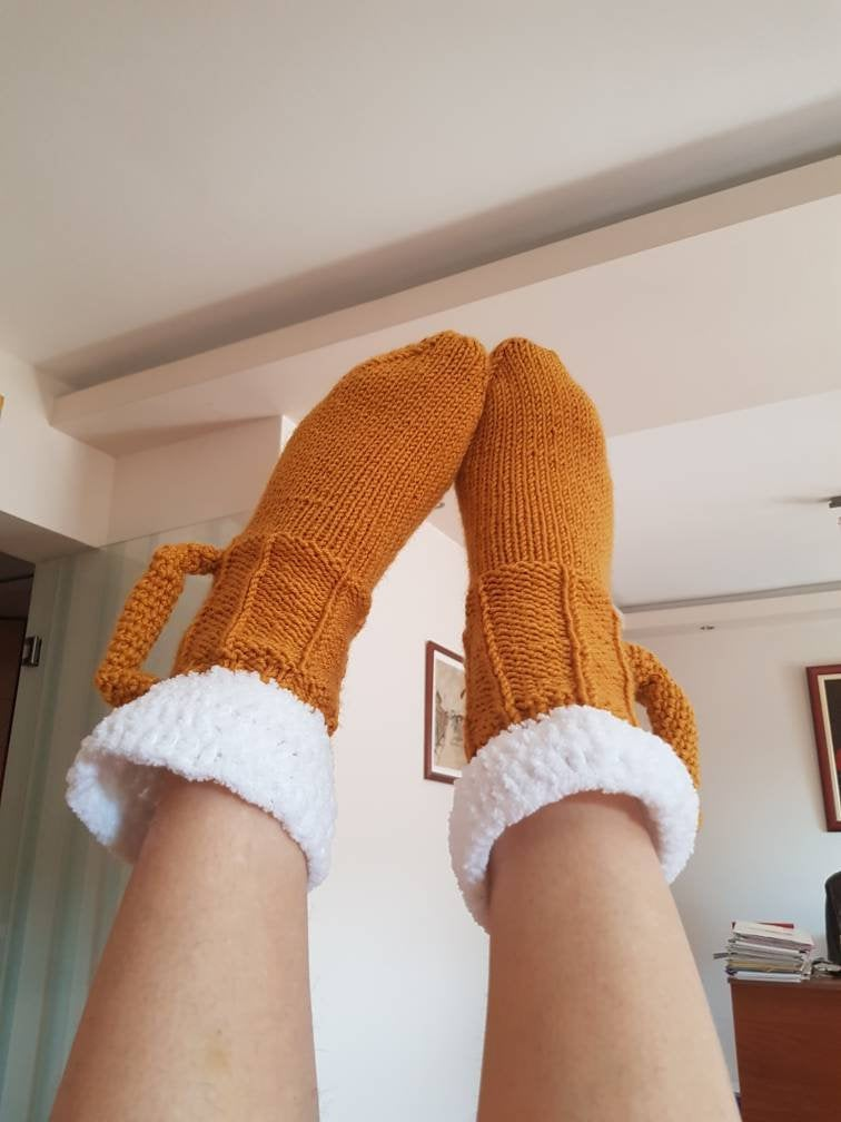 Crocheted Beer Mug Socks