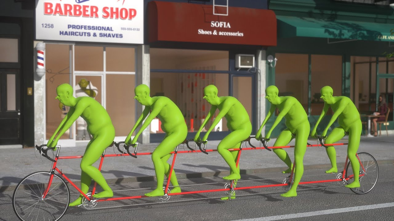 A Whimsical 3D Rendering of Five Green People Riding a Tandem Bicycle In, Around and Above New York City