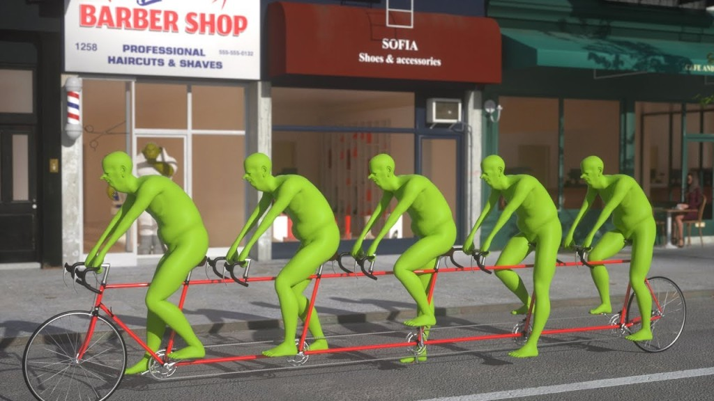 Five Green People Riding a Bicycle NYC 3D