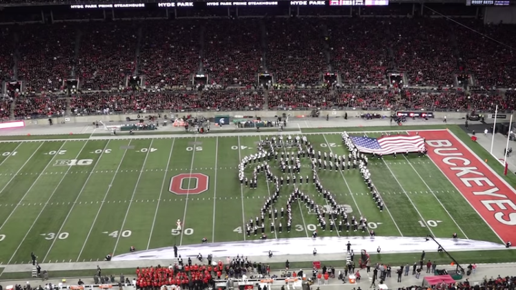 Ohio State Marching Band One Giant Leap Halftime Show First Steps
