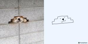 Poorly Drawn Dog Peeking Through Brick Wall