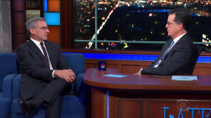 Steve Carell and Stephen Colbert Re-enact Their Sketch Waiters Nauseated By Food