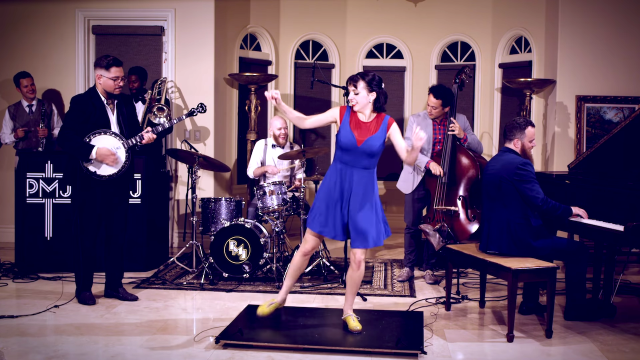 An Old-Timey Super Mario Bros. Medley With a Twirling Tap Dancer Adding to the Song's Percussion