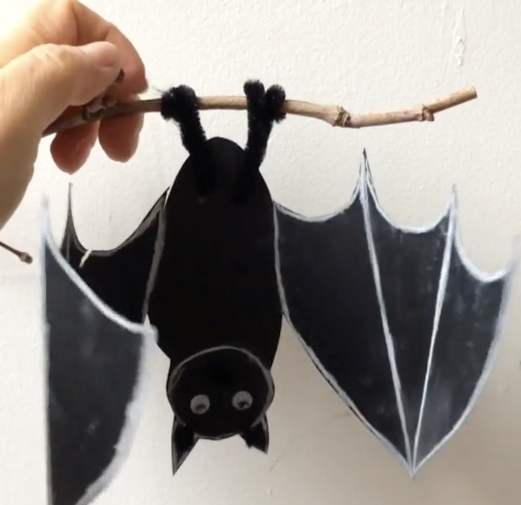 An Adorable Paper Bat With Unfolding Wings