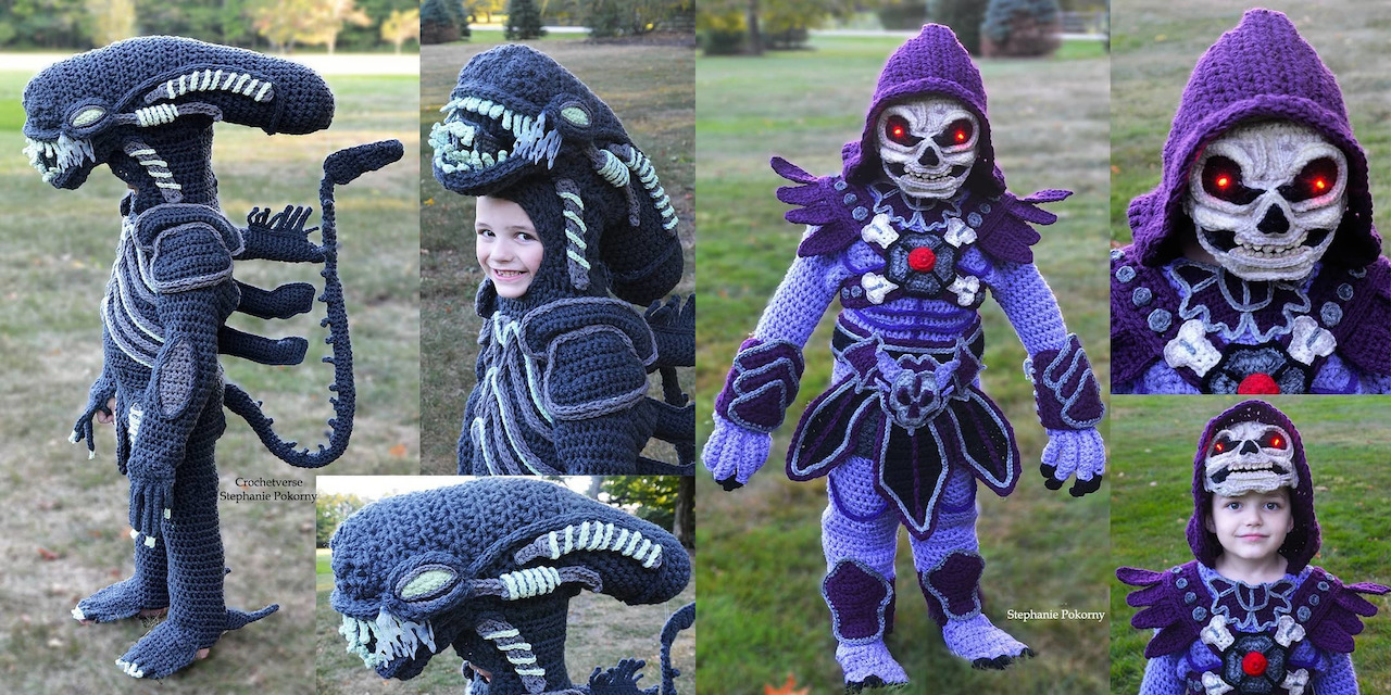 Talented Mom Crochets Amazing Xenomorph and Skeletor Halloween Costumes For Her Son