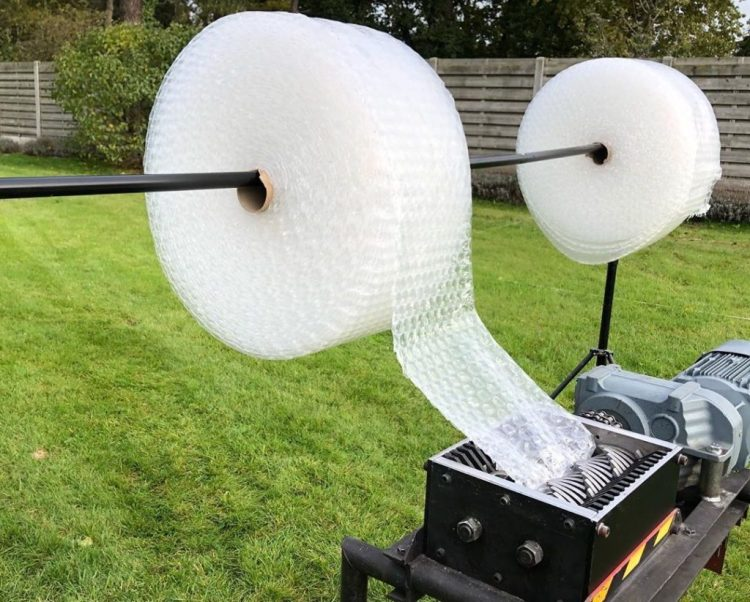 Bubble Wrap In Industrial Shredder