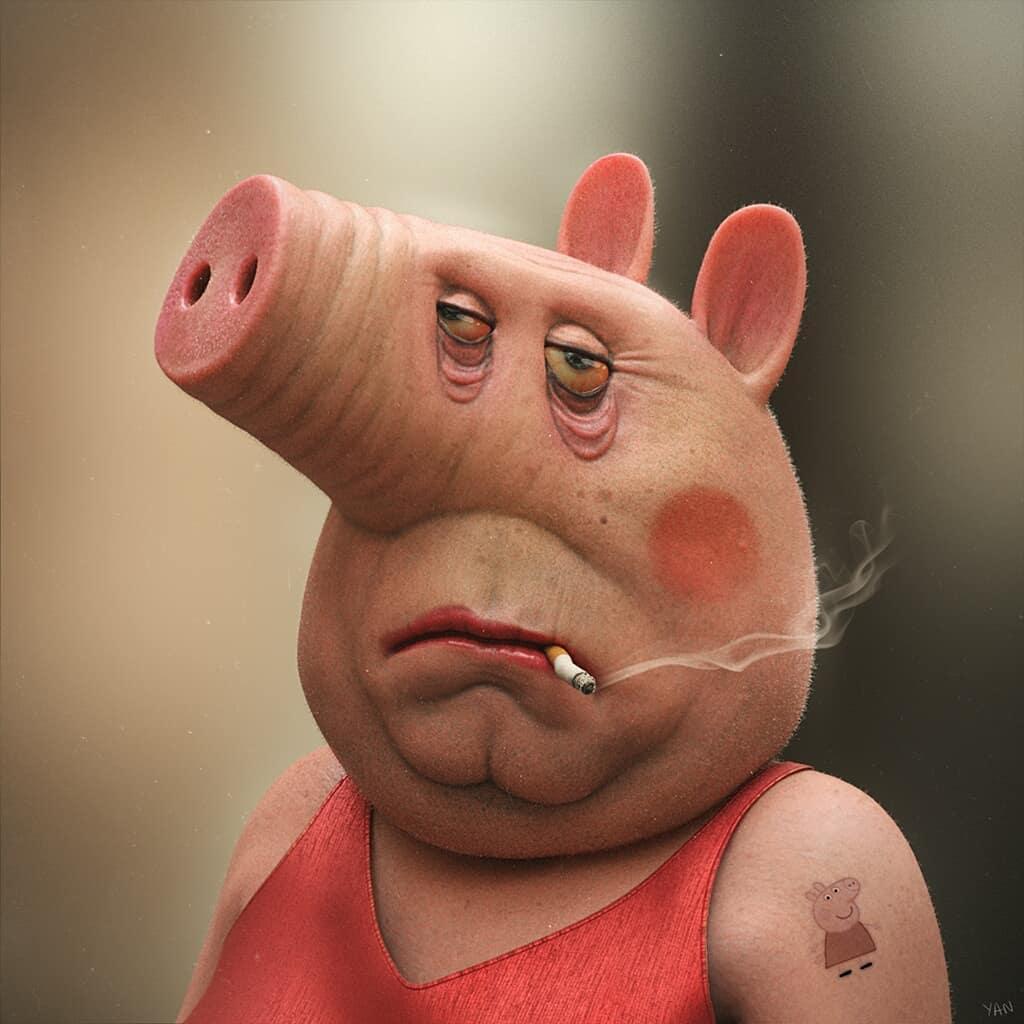 Peppa Pig Smoking