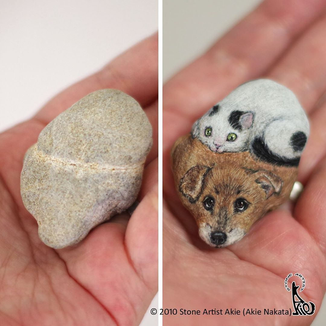Highly Detailed Animal Portraits Painted Onto Stones
