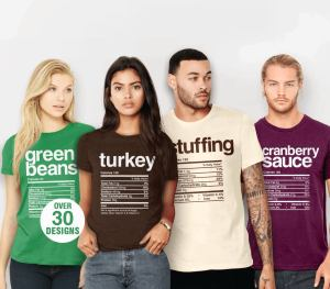 Thanksgiving Dinner Nutrition Tshirts