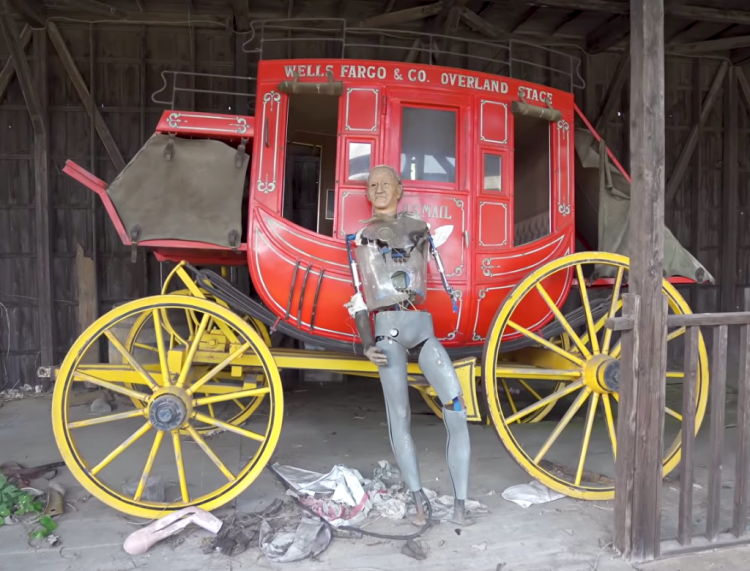 Abandoned Western Village Japan Stagecoach Animatronic Driver