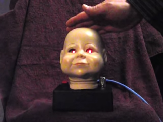 Playing a Creepy Baby Head Theremin