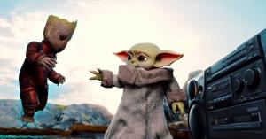Baby Yoda Meets Dancing Baby Groot