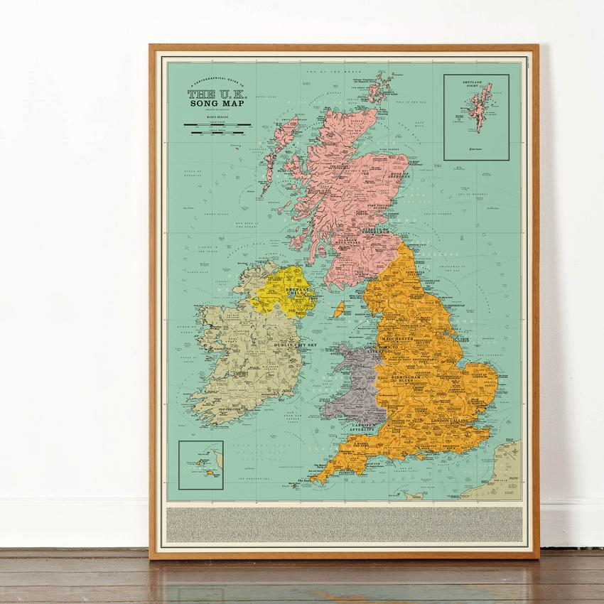 A Charming Vintage Style Map of the U.K. Made Up Entirely of 1,400 Geographically Relevant Songs