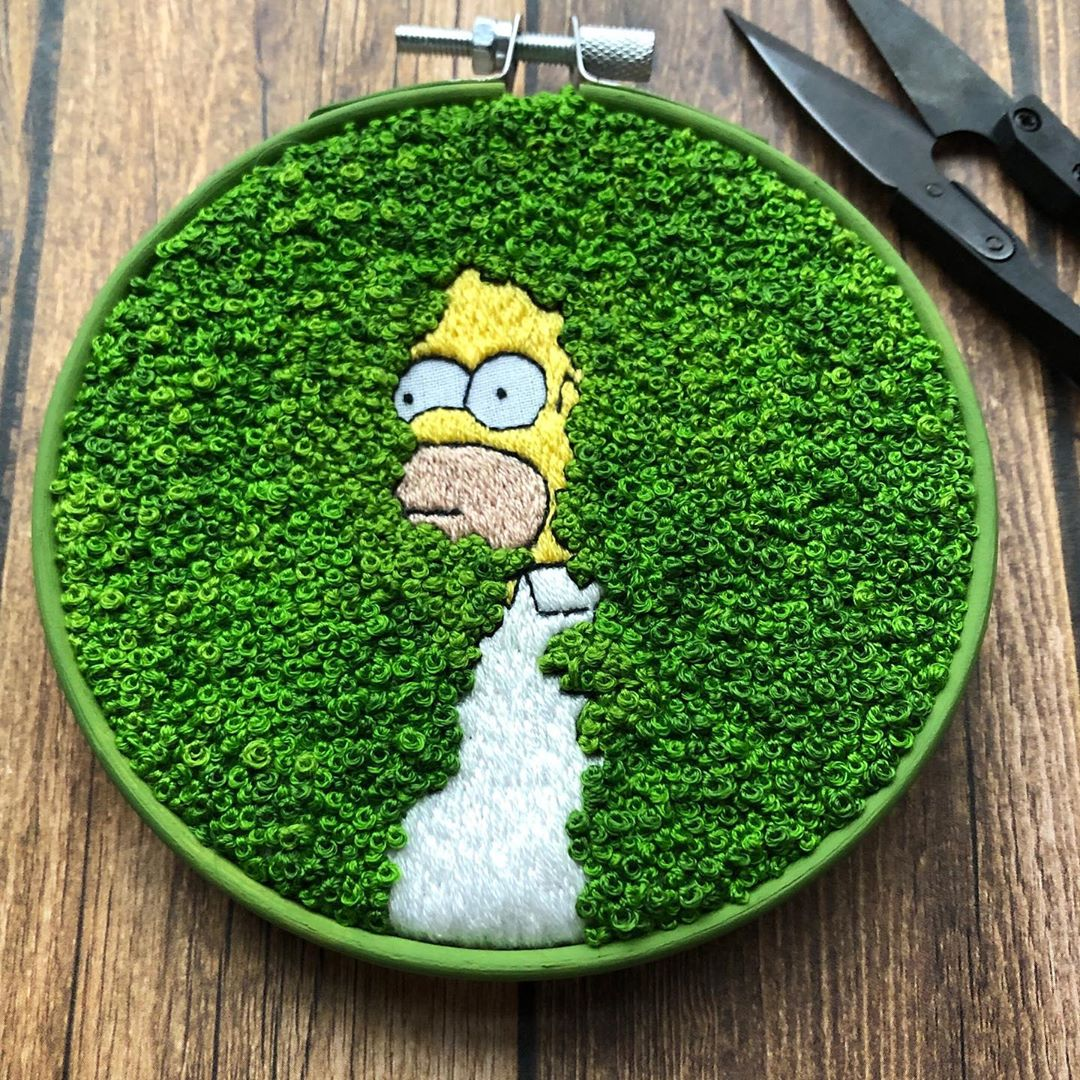 Embroidery of Homer Simpson Backing Into Bushes