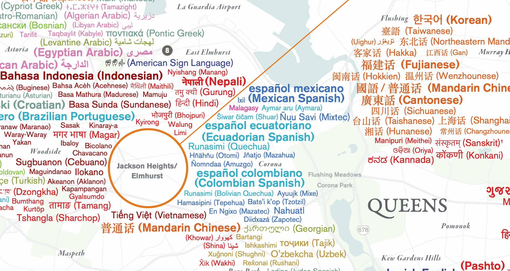 A Beautiful Map Showing the Wide Array of Languages Spoken Throughout the Five Boroughs of New York City