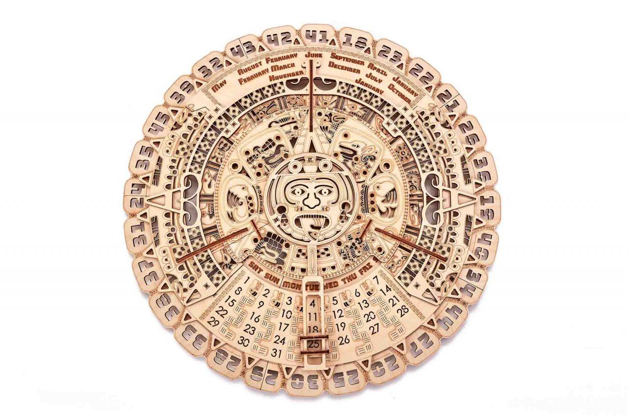 A Beautiful Wooden Mayan Calendar Mechanical Puzzle