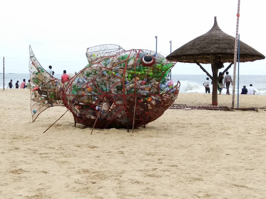 Wide-Mouthed Fish Filled With Plastic Bottles Sits on the Beach to Remind Visitors About the Environment
