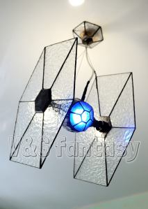 Stained Glass Tie Fighter Hanging Light