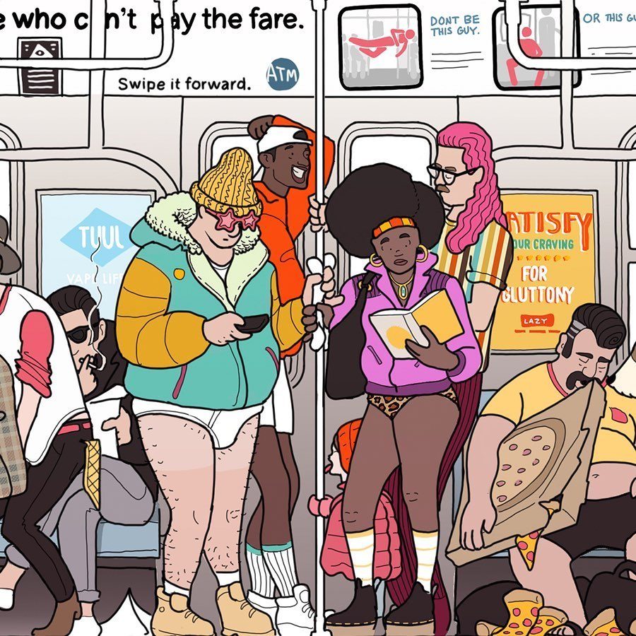 An Incredible Illustrated Print That Captures the Weird and Wonderful Creatures of the New York City Subway