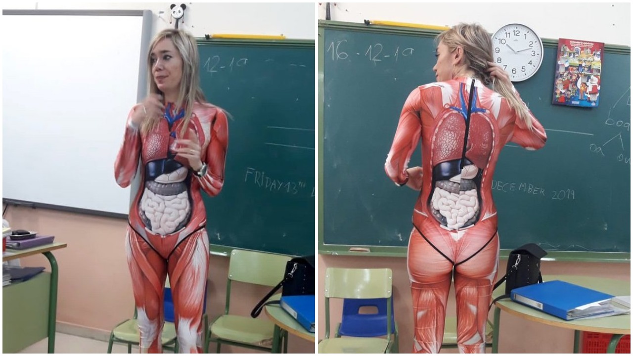 Teacher in Spain Shows Up Wearing an Internal Organ Bodysuit To Teach Her Surprised Class About Anatomy