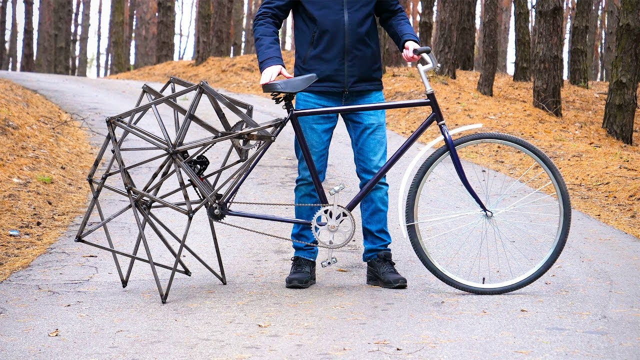A Walking Bicycle That Uses the Mechanical Design of Theo Jansen's Kinetic Wind-Powered Strandbeest