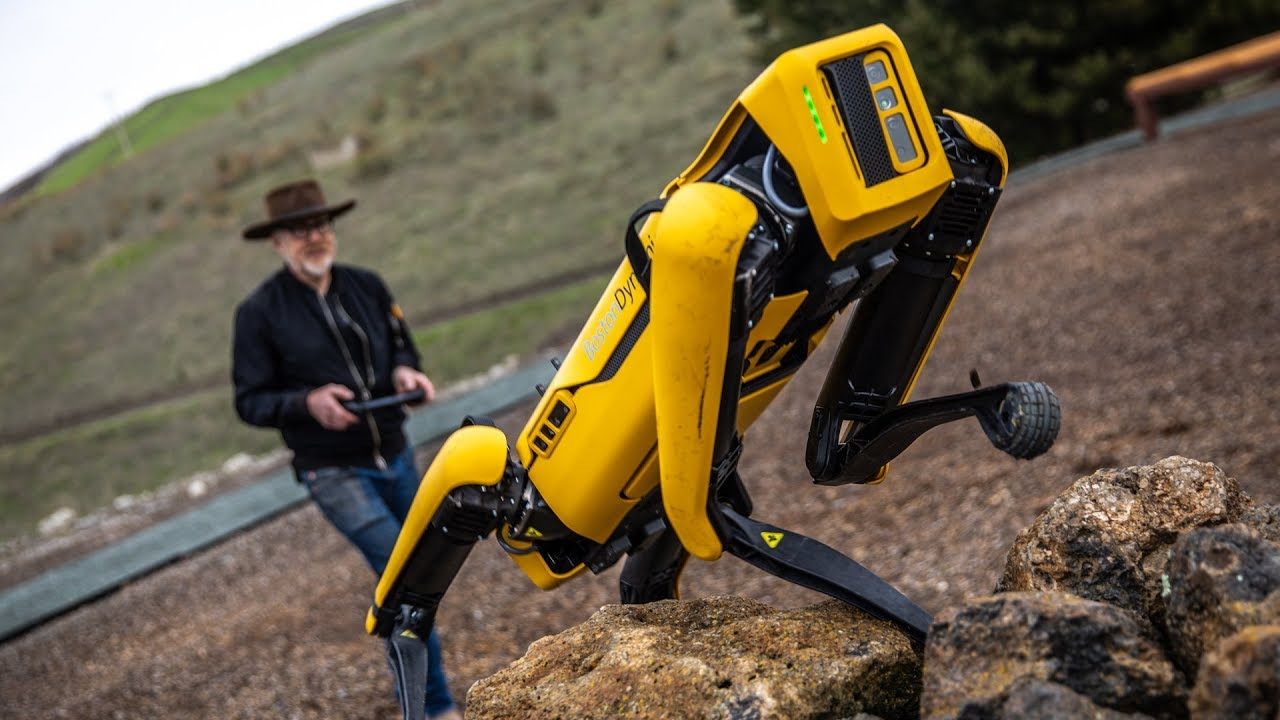 Adam Savage Gleefully Takes His Boston Robotics Spot Robot Outdoors for a Test Run
