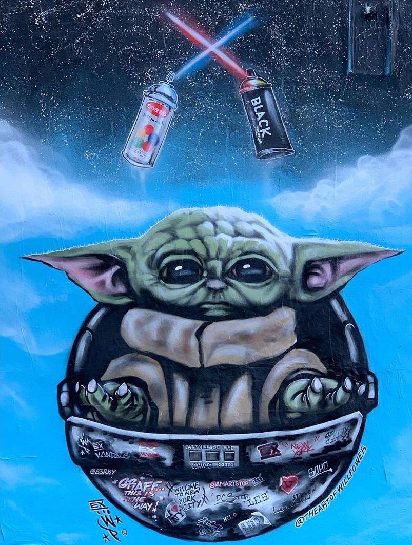 Street Artist Creates Incredible Baby Yoda Mural in NYC