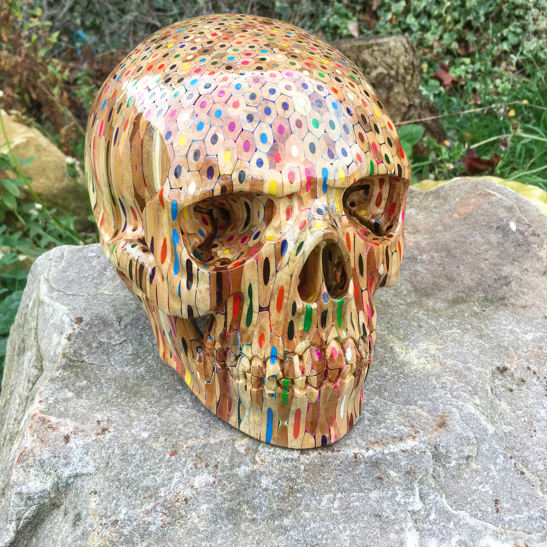 Incredible Human Skull Made From 646 Colored Pencils - laughing squid