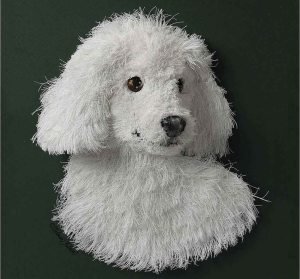 Furry White Dog Made Out of Paper