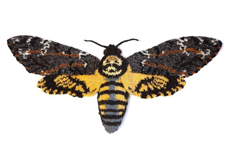 Knitted Deaths Head Hawk Moth