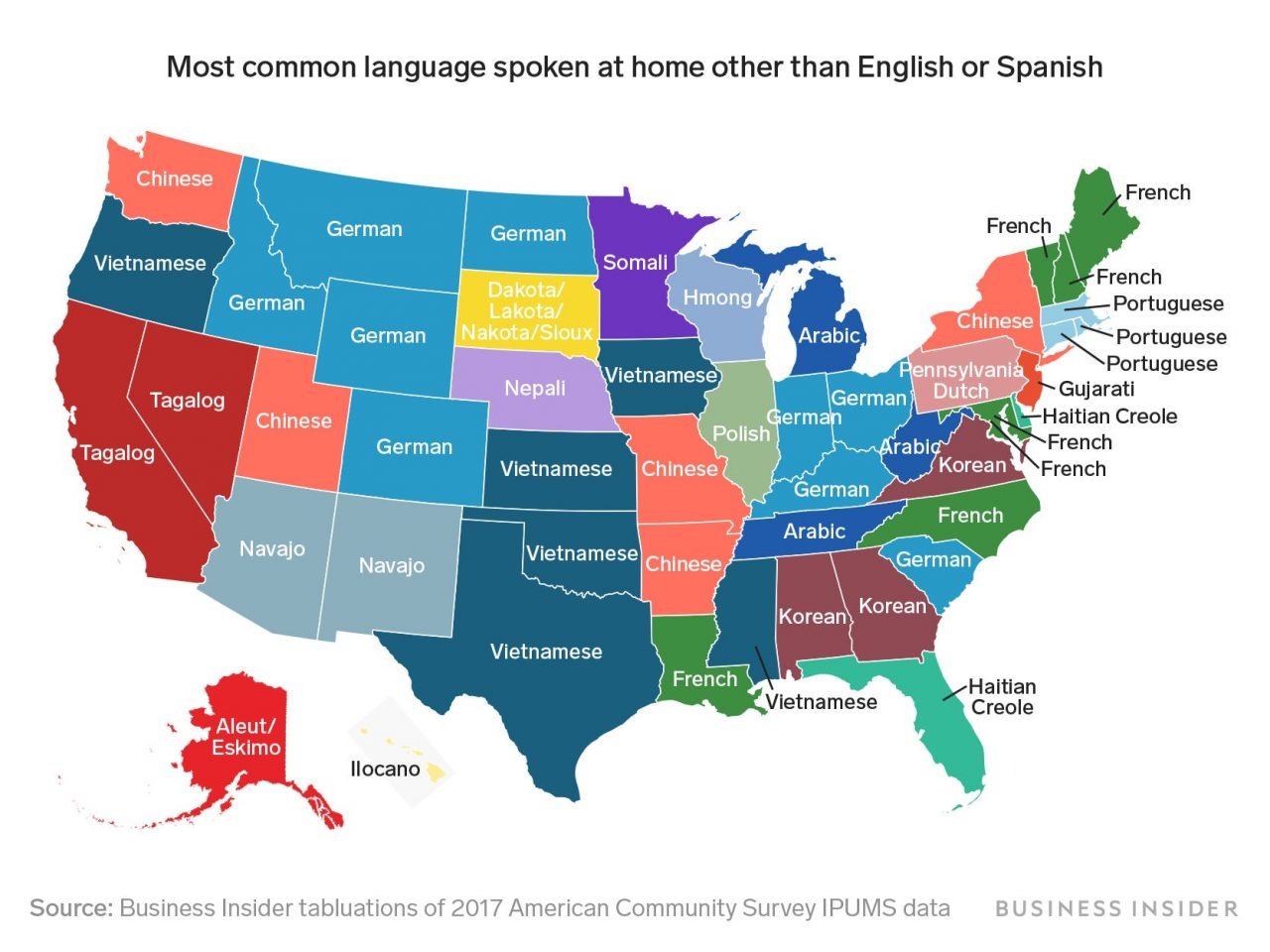 A Revealing Map of the Most Common Languages Spoken in the U.S. Other Than English or Spanish