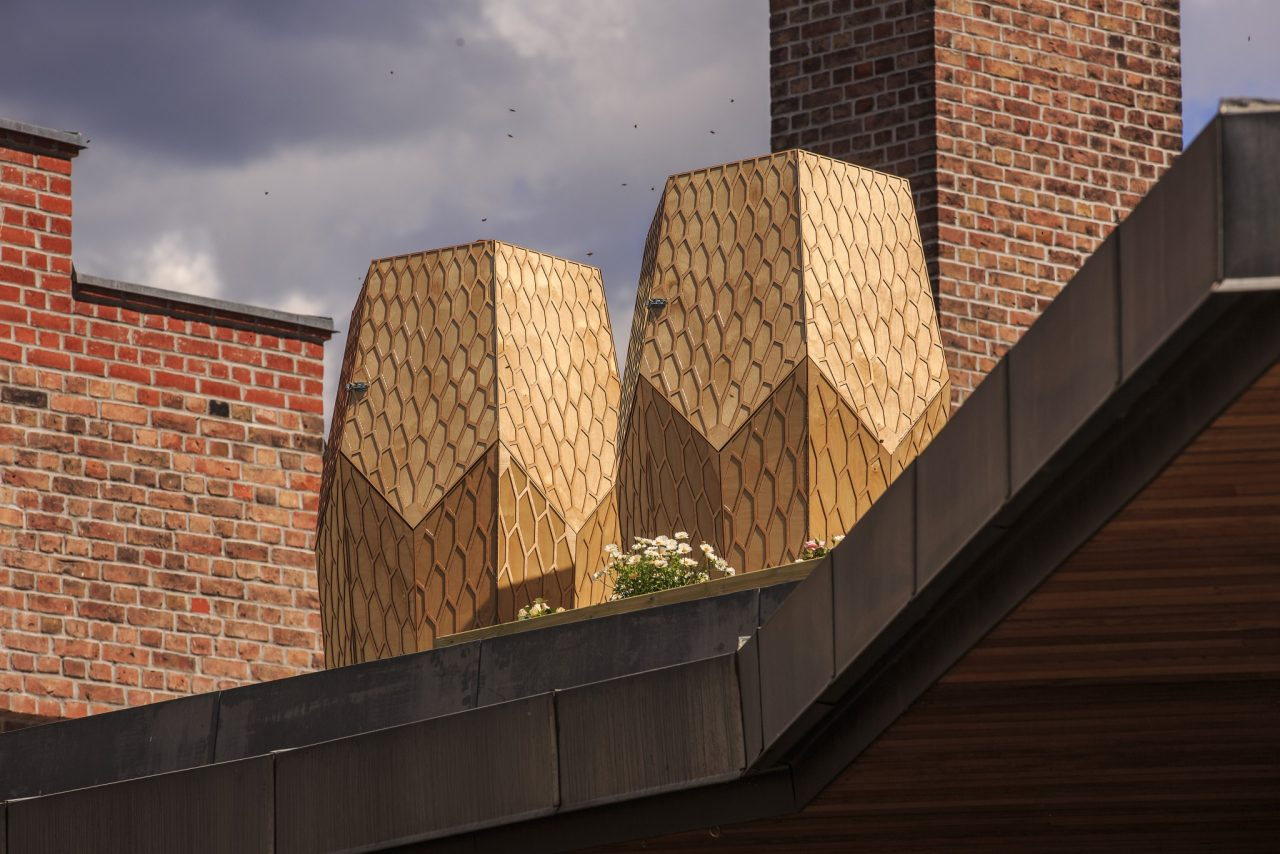 The Vulkan Bigård Project, Two Modern Hexagonal Beehives Located on a Rooftop in Oslo, Norway