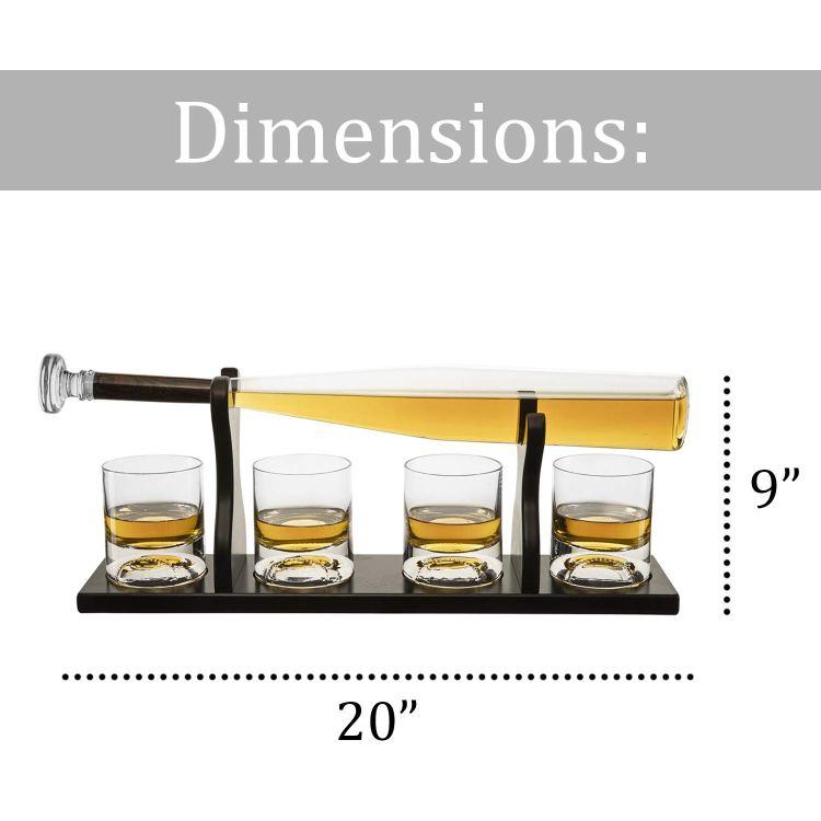 Baseball Bat Whiskey Decanter and 4 Baseball Whiskey Glasses Dimensions