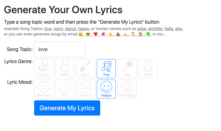 Generate Your Own Lyrics