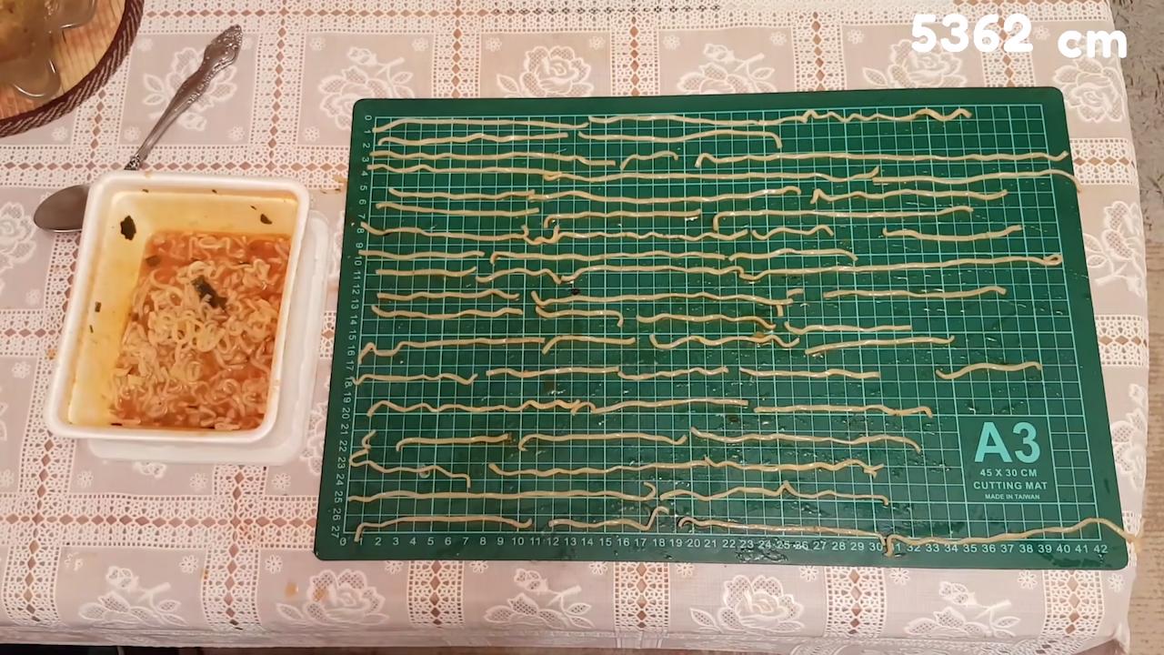 Calculating the Total Length of the Cooked Noodles in a Pre-Packaged Serving of Instant Ramen Noodles