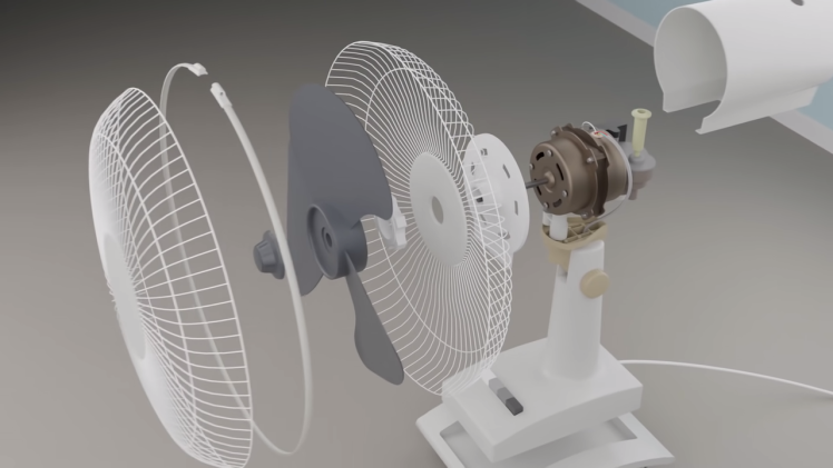 Virtually Dismantling Oscillating Fan