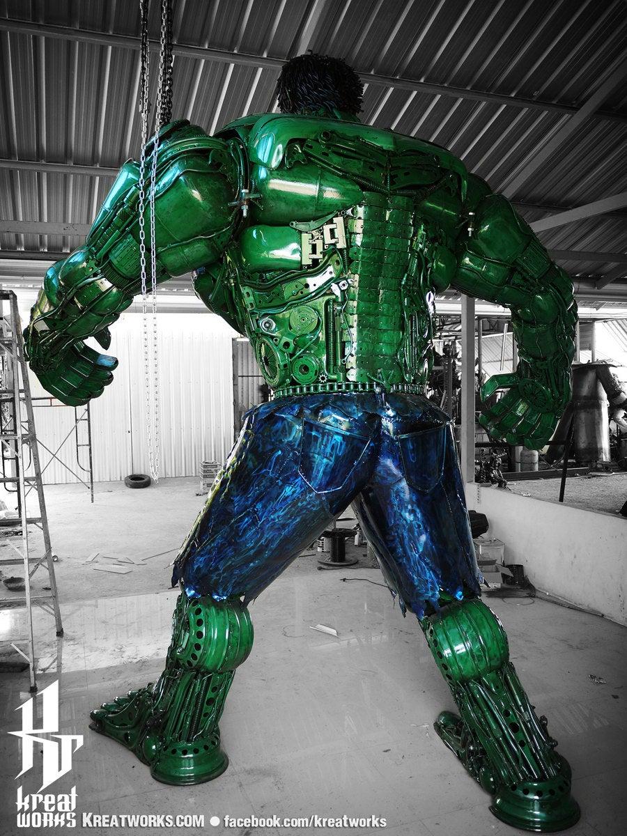 10 Foot Tall Recycled Hulk Back