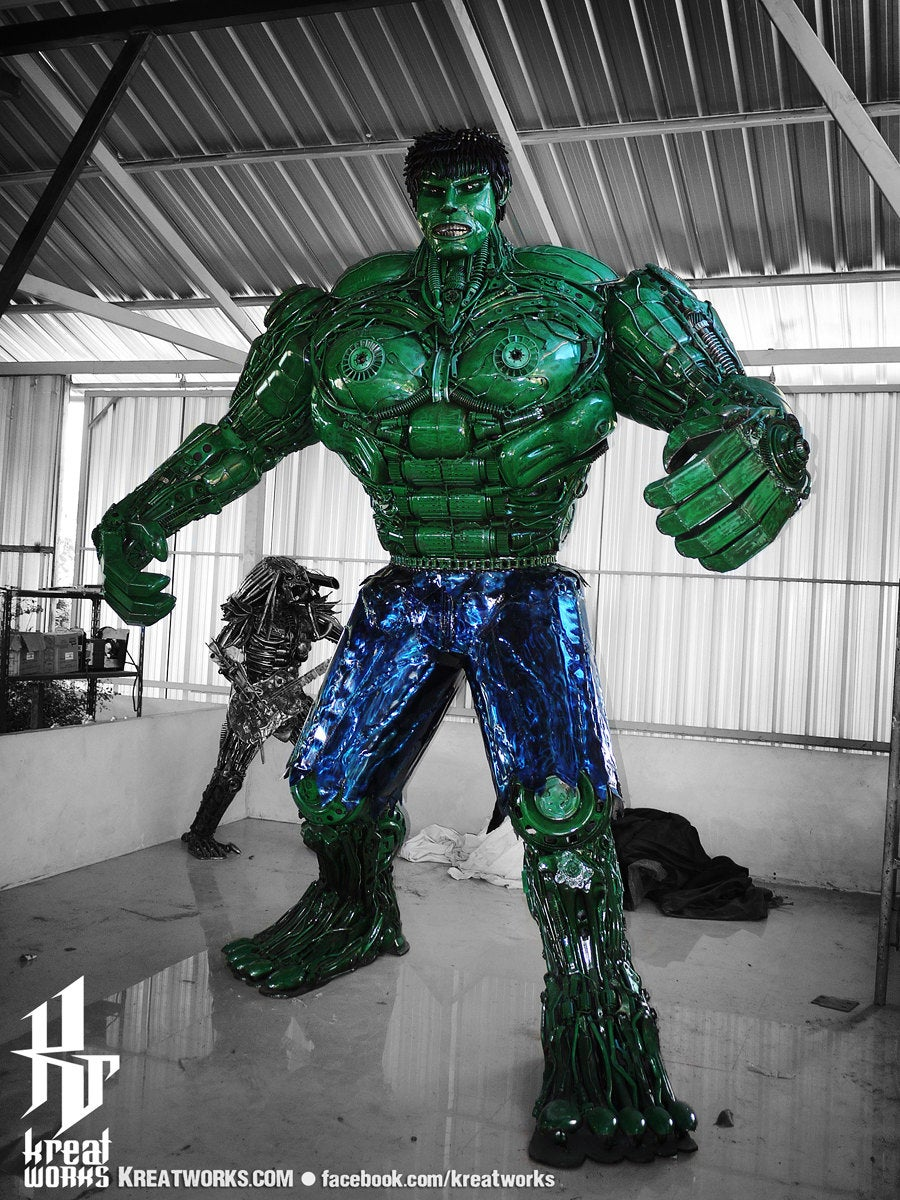 10 Foot Tall Recycled Hulk Front