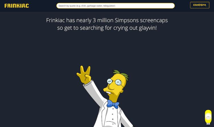 Frinkiac Database of The Simpsons